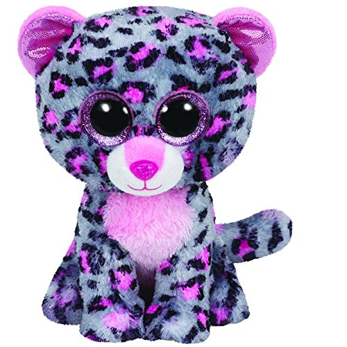 "Ty Beanie Boo 6"" Tasha The Grey and Pink Leopard"