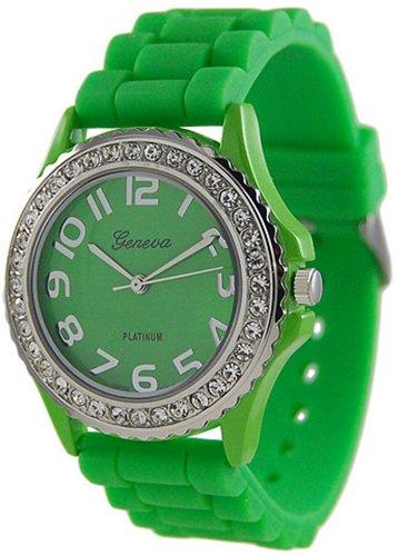 WorldTree Fashion Silica Band Quartz Watch Wristwatch Green Unisex Watch