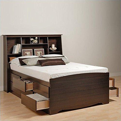 Prepac Manhattan Tall Twin Bookcase Platform Bed 3 Piece Bedroom Set - Twin / Firm