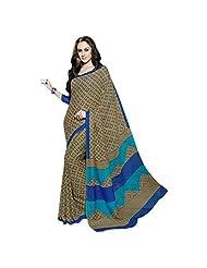 Fancy Graceful Beige Colored Printed Art Silk Saree By Triveni