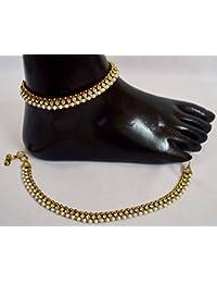Ethnic Anklet Designer Indian Antique Gold Plated Stone Kundan Payal Anklets - B01GEAT1PO