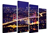 Multi Split Panel Canvas Artwork Art - Bosphorus Bridge Istanbul Turkey Night Lights River Reflection City Illuminated Traffic - ART Depot OUTLET - 4 Panel - 101cm x 71cm (40