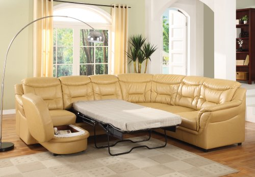 Rich Tan Leather Sectional Living Room Set