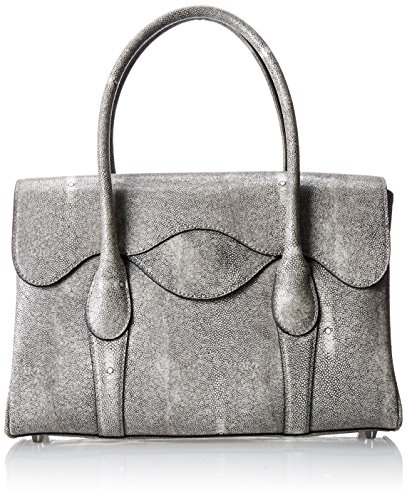 BCBG Faux Stingray Satchel Top Handle Bag,Stone,One Size