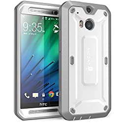 SUPCASE All New HTC One M8 Case - Unicorn Beetle PRO Full-body Hybrid Protective Case with Built-in Screen Protector (White/Gray) - Dual Layer Design + Impact Resistant Bumper for HTC One M8 2014 Release