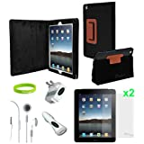 Ionic Brown Leather Case Cover with Charger and Screen Protector for Apple iPad 2, iPad 3, iPad 4, iPad 2nd, iPad 3rd, iPad 4th Generation AT&T Verizon 4G LTE (7-item) ~ CrazyOnDigital
