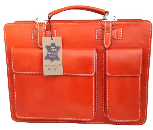 CTM Borsa Cartella a Spalla Arancione Porta Documenti da Uomo, 38x29x11cm, Vera Pelle 100% Made in Italy