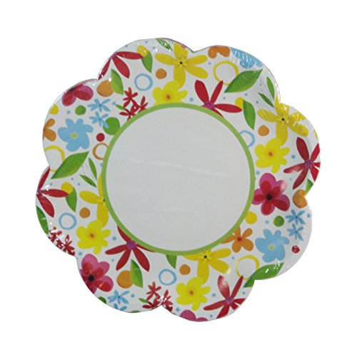 Spring Fling Party! Scalloped Flower Paper Dessert Plates - 14-pieces - 1