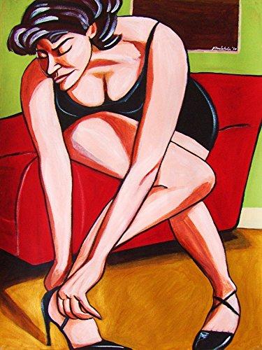 WOMAN IN HIGH HEEL PRINT POSTER MAN CAVE BIRTHDAY present GIFT ART sexy erotic foot fetish nude shoe