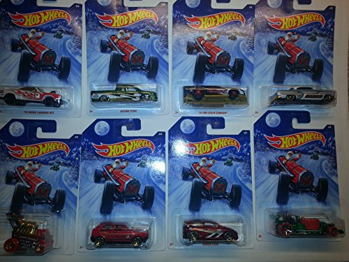 2014 Hot Wheels Holiday Rods Set Of 8: Includes Nissan Titan, Honda Civic, Hot Tub, Draggin' Wagon, Volkswagen Golf, '70 Dodge Charger R/T, Custom '53 Chevy And '10 Pro Stock Camaro!!