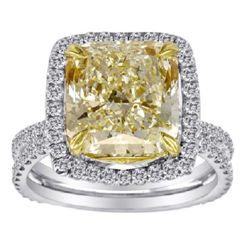 6.45 Ct Fancy Yellow Radiant Diamond Ring