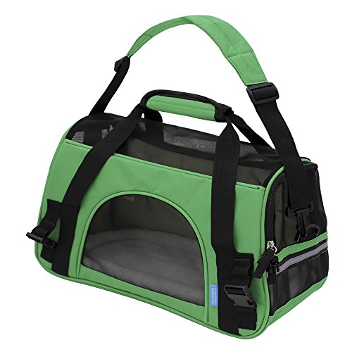 "OxGord Pet Carrier Soft Sided Cat / Dog Comfort ""FAA Airline Approved"" Travel Tote Bag – 2015 Newly Designed, Small, Spinach Green"