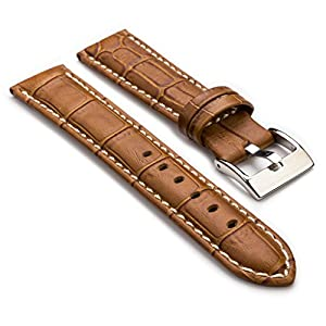StrapsCo Premium Tan Croc Embossed Leather Watch Strap size 22mm