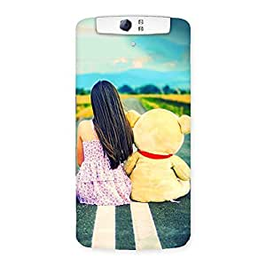 Teddy Girl Cute Multicolor Back Case Cover for Oppo N1