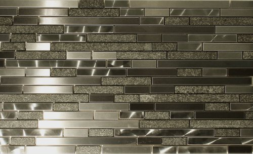 Metal and Stone Random Strips Backsplash Tile Mosaic 15-1/2