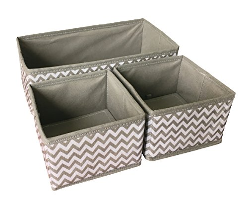 Sodynee Foldable Cloth Storage Box Drawer Closet Dresser Organizer Cube Basket Bins Containers Divider for Underwear, Bras, Socks, Ties, Scarves, 3 Pack (Small Containers With Dividers compare prices)