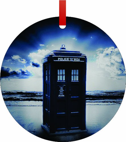 TABTM Tardis on the Beach, Double Sided Round Aluminium Christmas Ornament with Red Ribbon - Round - Holiday Tree Décor - Unisex Gift - Decoration - Affordable gift!