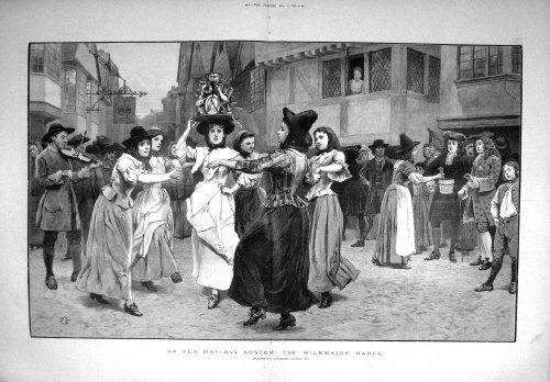 1897 May-Day Custom Scene Milkmaids Dance Fine Art