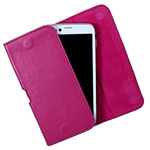 Dooda Genuine Leather Belt Pouch Case For Videocon A52 (PINK)