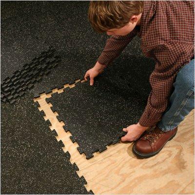 4 Piece Interlocking Mat Black Grey Speck
