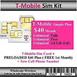 Activate-In 15 Mins T-Mobile Sim Card + $40 Plan 3GB Web ( Free 1st Month)