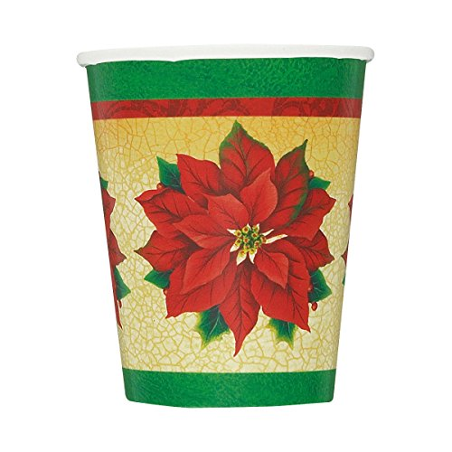 9oz Classic Poinsettia Holiday Paper Cups, 8ct - 1