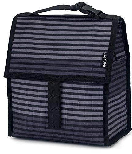 PackIt Freezable Lunch Bag with Zip Closure, Gray Stripe (Cool It Freezer Packs compare prices)