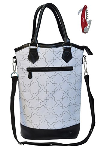 Vina 2-Bottle Wine Carry Handbag, Fashionable Thermal Insulation Champagne Beer Carrier Tote, White
