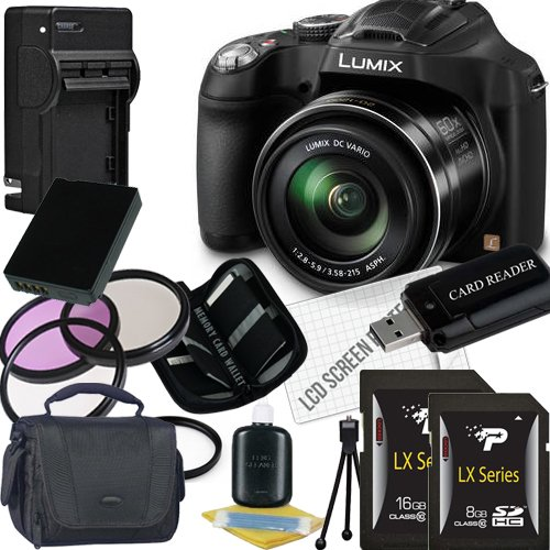 Panasonic Lumix DMC-FZ70 Digital Camera + 8GB SDHC Memory Card + 16GB SDHC Memory Card + USB SDHC Memory Card Reader + UV FILTER 55MM + CC UV, Florescent, Polarizer Filter Kit (Protect Your Lens!) + Weather Resistant Carrying Case w/Strap + Memory Card Wallet + Two Rechargeable Lithium Ion Replacement Battery + Rapid External Ac/Dc Charger Kit (Panasonic Lumix Dmc Fz70 Battery compare prices)