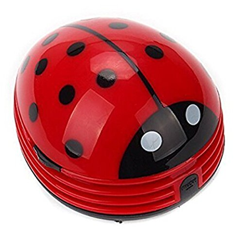 discoGoods Red Beetle Shaped Portable Corner Desk Table Top Vacuum Cleaner Mini Cute Vacuum Cleaner Dust Sweeper (Red-Beetle) (Steam Mop Ladybug compare prices)
