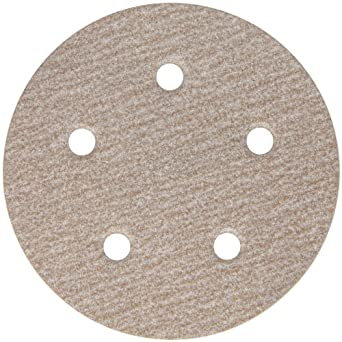"Norton A275 PSA Disc, Light Weight Paper Backing, Pressure Sensitive Adhesive, Aluminum Oxide, Waterproof, 5 Vaccum Holes, 5"" Diameter, Grit 150 (Pack of 25)"