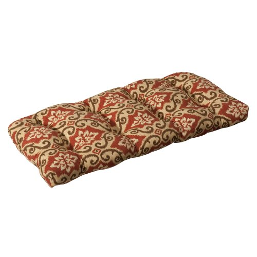Pillow Perfect Indoor/Outdoor Red/Tan Damask Wicker Loveseat Cushion image