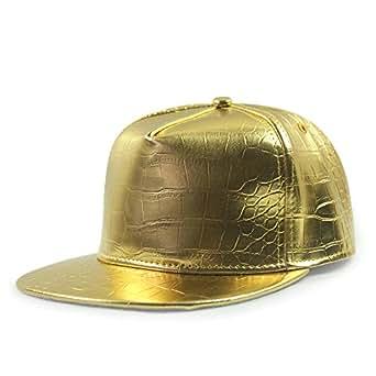 unisex cool pu leather snackback cap flat brim hip hop hat