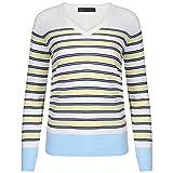 Ladies Ex Marks & Spencer Striped Longline V-Neck Jumper (16, Yellow)
