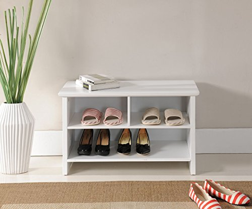 Kings Brand Furniture Wood Shoe Storage Cubby Bench White Benches Entryway Benches