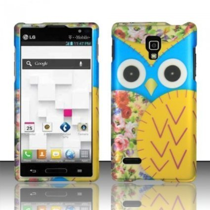 LG Optimus L9 P769 / P760 (T-Mobile) Yellow Owl Design Hard Case Snap On Protector Cover + Free Opening Tool + Free American Flag Pin (Lg Optimus L9 P769 compare prices)