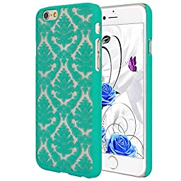iPhone 6/6S Case, ARSUE (TM) Ultra Thin Case, Damask Vintage Pattern Slim Hard Case For iPhone 6/6S (Teal)