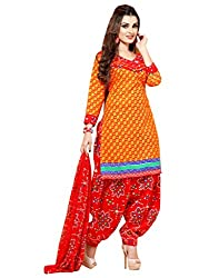 Yellow & Red colour embroidered crepe fabric semi stich patiyala salwar dress material