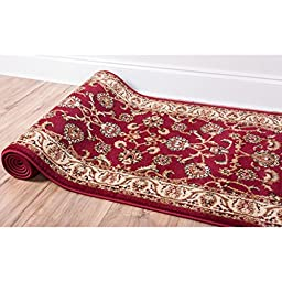 Noble Sarouk Red Persian Floral Oriental Formal Traditional Rug 3x10 ( 2\'7\