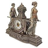 Design Toscano Versailles Maidens Sculptural Mantel Clock (Color: Bronze, Tamaño: 14 Inch)