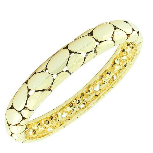 Stainless Steel Silver Yellow Gold-Tone Snake Skin Pebble Handcuff Womens Bangle Bracelet (Yellow Gold Plated)