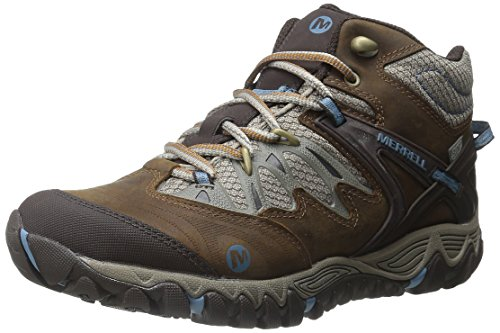 Merrell Women's All Out Blaze Mid Waterproof Hiking Boot,Brown Sugar/Blue Heaven