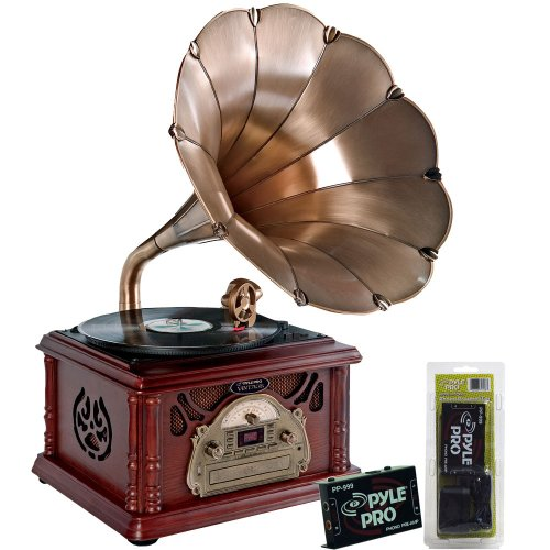 Pyle Turntable Record Player, Pre-Amplifier, Rca Cable And Speaker Package - Ptcdcs3Uip Classical Trumpet Horn Turntable/Phonograph With Am/Fm Radio Cd/Cassette/Usb & Direct To Usb Recording - Pp999 Phono Turntable Pre-Amplifier - Pphp885A 400 Watts 8'' P