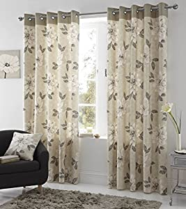 Monet Natural 100% Cotton Floral 46x72 Lined Ring Top Curtains #allebanna *cur* by Curtains