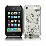 ZAFOORAH® - BUTTERFLY FLOWER GARDEN Hybrid Designer Case Cover Fits iPhone 3 3G S 3GS 8GB 16GB 32GB including Free Screen Protector (White and Silver)