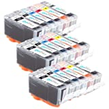 3 Compatible Sets of 6 Canon PGI-525 & CLI-526 Printer Ink Cartridges (18 Inks) - Black / Cyan / Magenta / Yellow / Grey for Canon Pixma MG6150, MG6150, MG6250, MG8150, MG8250, MG8220