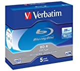 Verbatim 43743 Spindle of 25 BD-R Blu-Ray Blank Discs 25 GB 6x White Thermal Print Surface