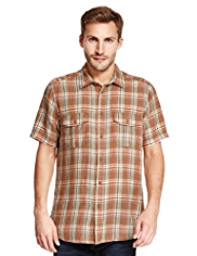 North Coast Pure Linen Checked Shirt