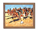 Civil War Blue Soldiers Horses Battle Home Decor Wall Picture Oak Framed Art Print