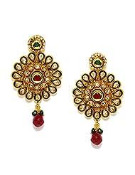 Bindhani Gold Plated Kundan Ruby Gemstones Earrings For Women